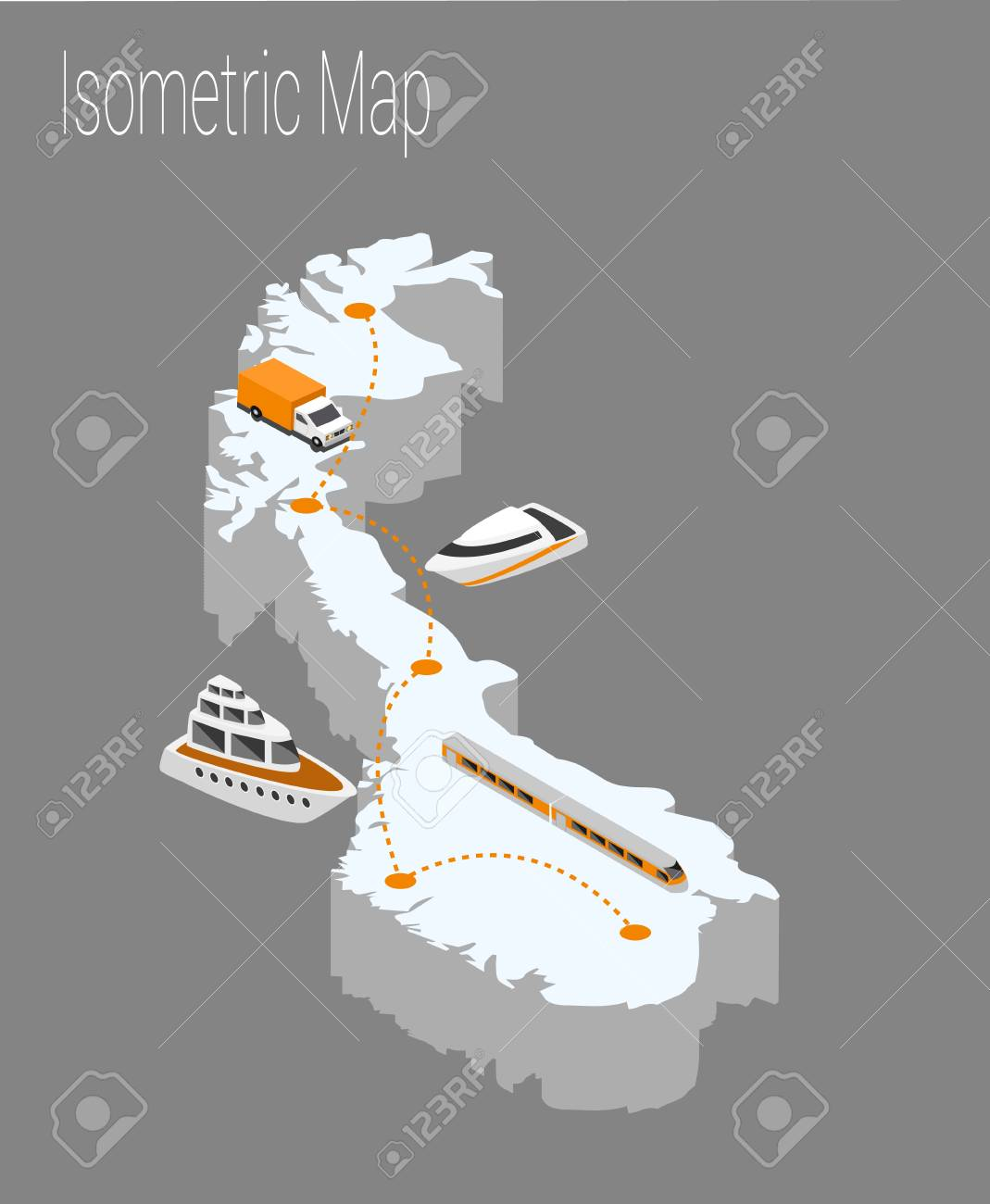 Map Norway isometric concept. 3d flat illustration of Map Europe. Stock Vector - 89905389
