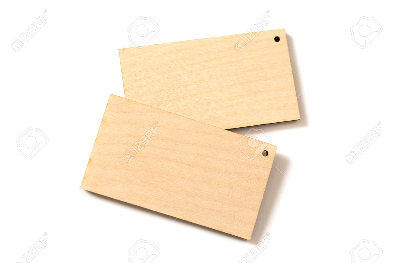 Two Wood Business Card Isolated On White Background Top View