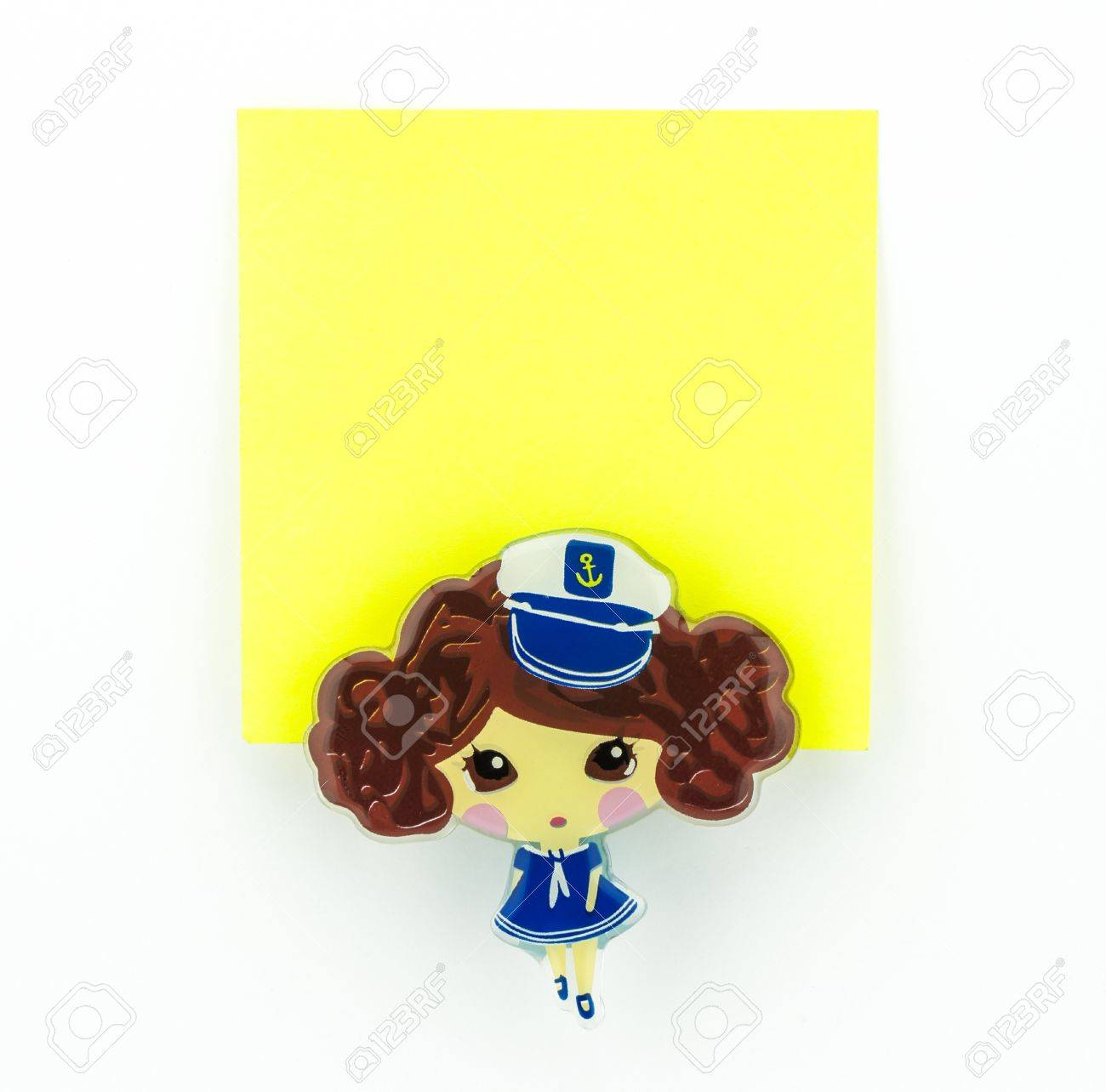 post-it, yellow note pad with navy girl clip Stock Photo - 20382359