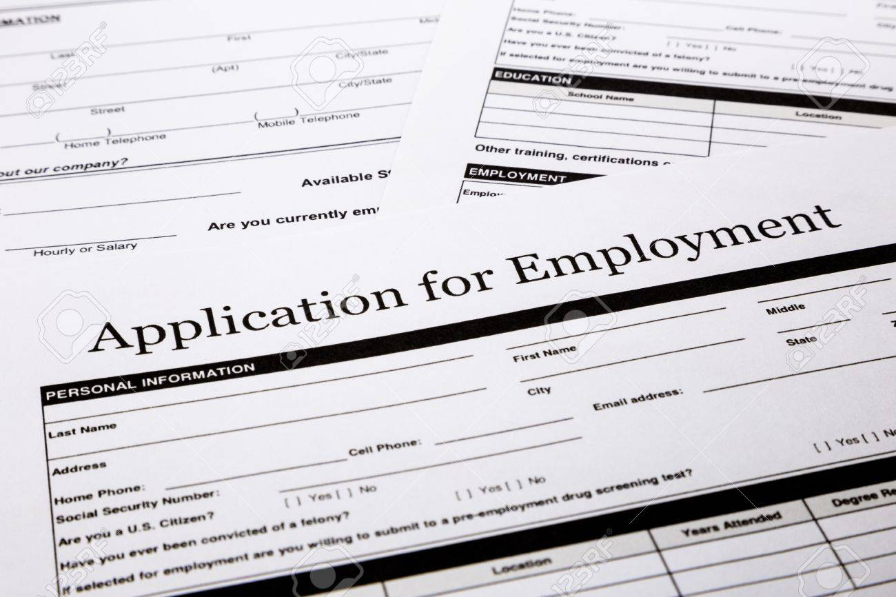 employment application form human resources and business concepts stock photo employment application form human resources and business concepts