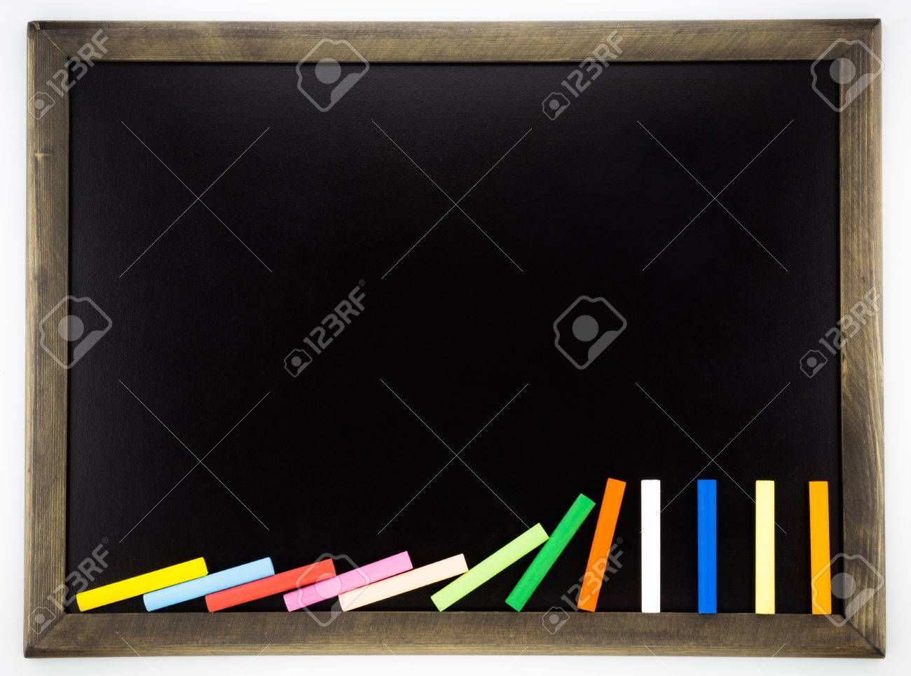 Blank Blackboard With Colorful Chalks And Wooden Frame , Back ...