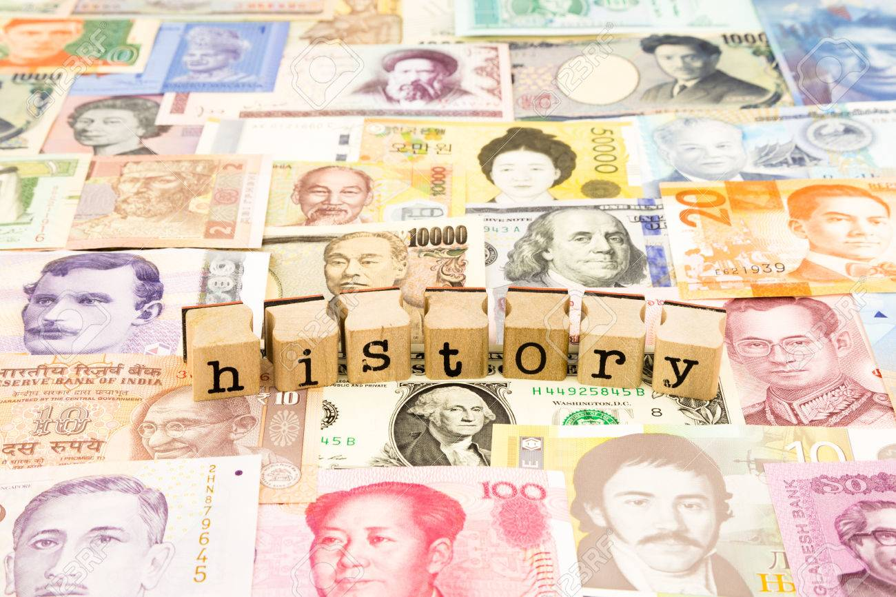 closeup history wording stack on banknotes, world currency, business