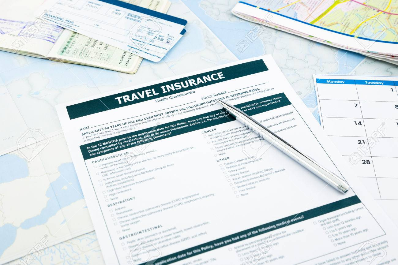 Travel Insurance Form, Passport And Tickets On World Map Paperwork ...