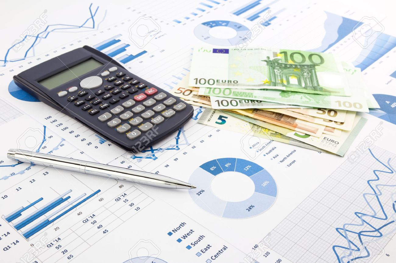 europe currency on financial charts, expense cash flow summarizing and graphs background, concepts for saving money, budget management, stock exchange, investment and business income report - 30661223