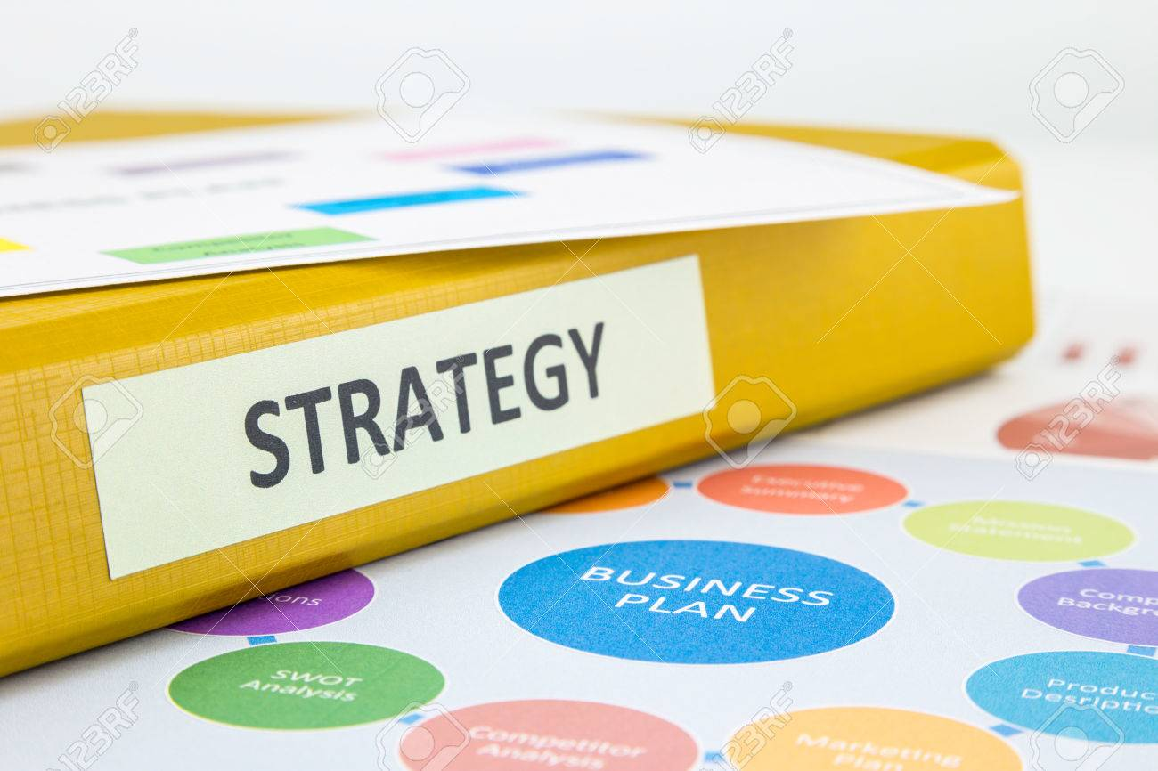 binder of strategy documents with business plan and swot analysis