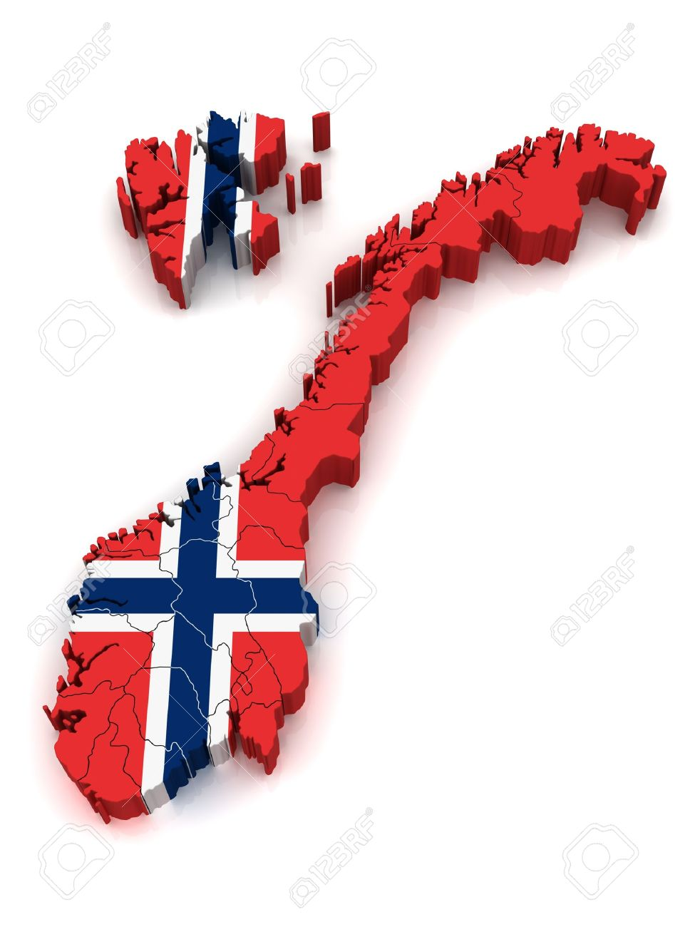 D Map Of Norway Stock Photo Picture And Royalty Free Image - Norway map clipart