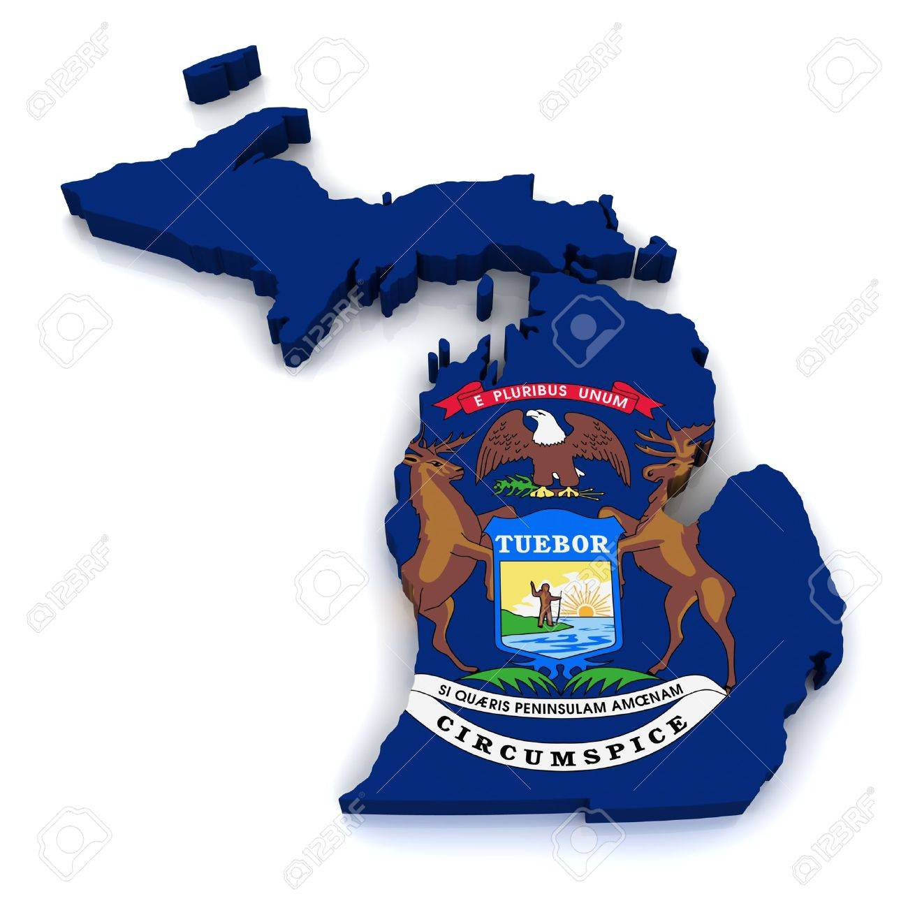3D Map of Michigan Stock Photo - 11133231