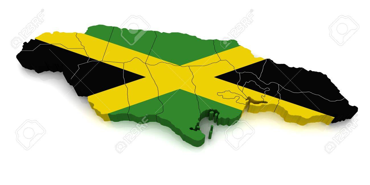3D Map Of Jamaica Stock Photo, Picture And Royalty Free Image. Image ...