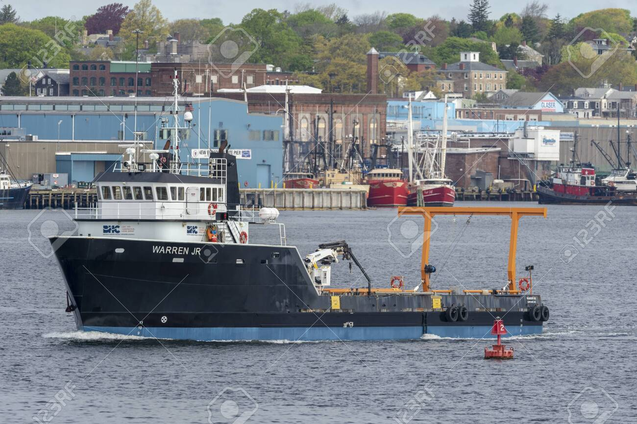 Fairhaven, Massachusetts, USA - May 15, 2019: Offshore supply