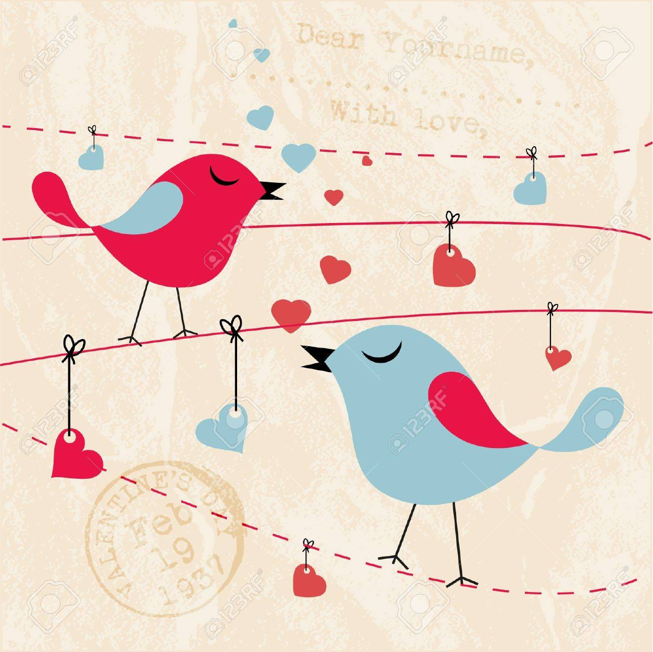 Valentines Card Background With Birds Royalty Free Cliparts – Valentines Card Background