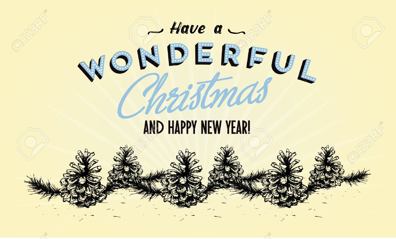 Retro Vintage Merry Christmas Greeting Card With Typography ...