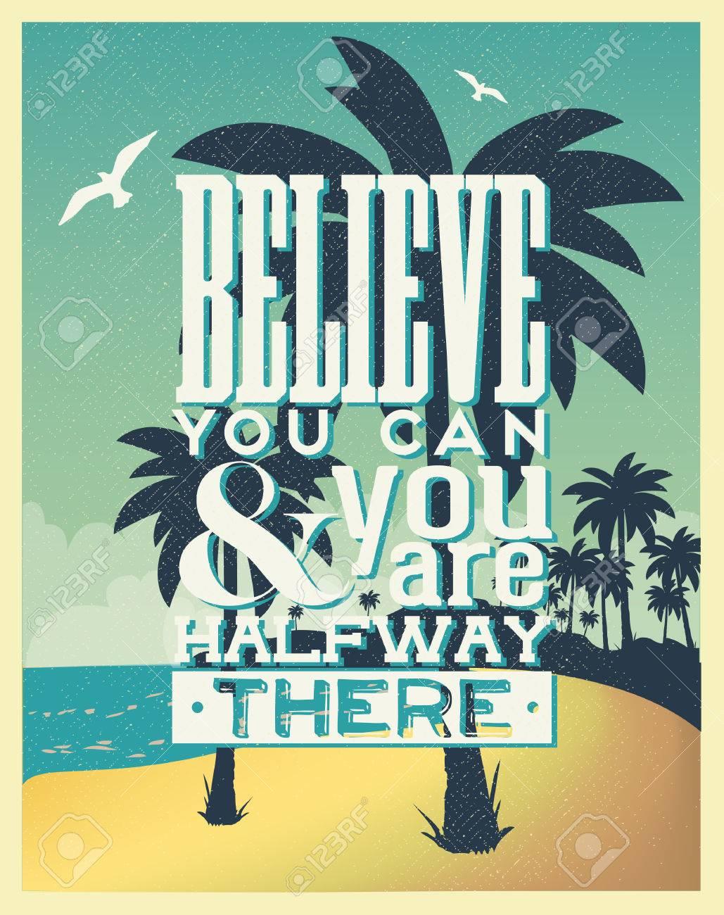 Design poster retro - Retro Vintage Summer Poster Design With Typography Stock Vector 23763396
