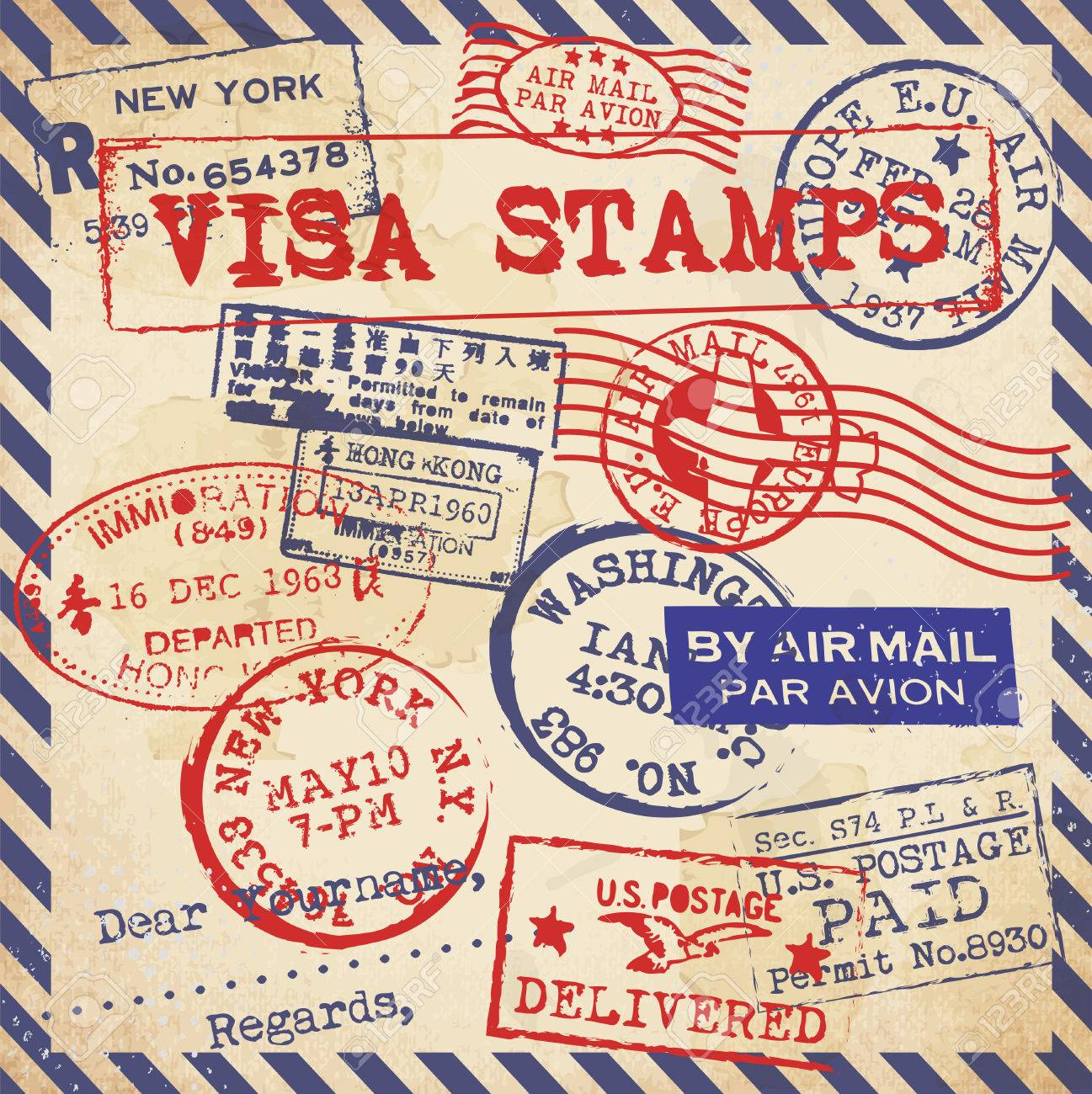 Various Visa Stamps Background Stock Vector - 23763487