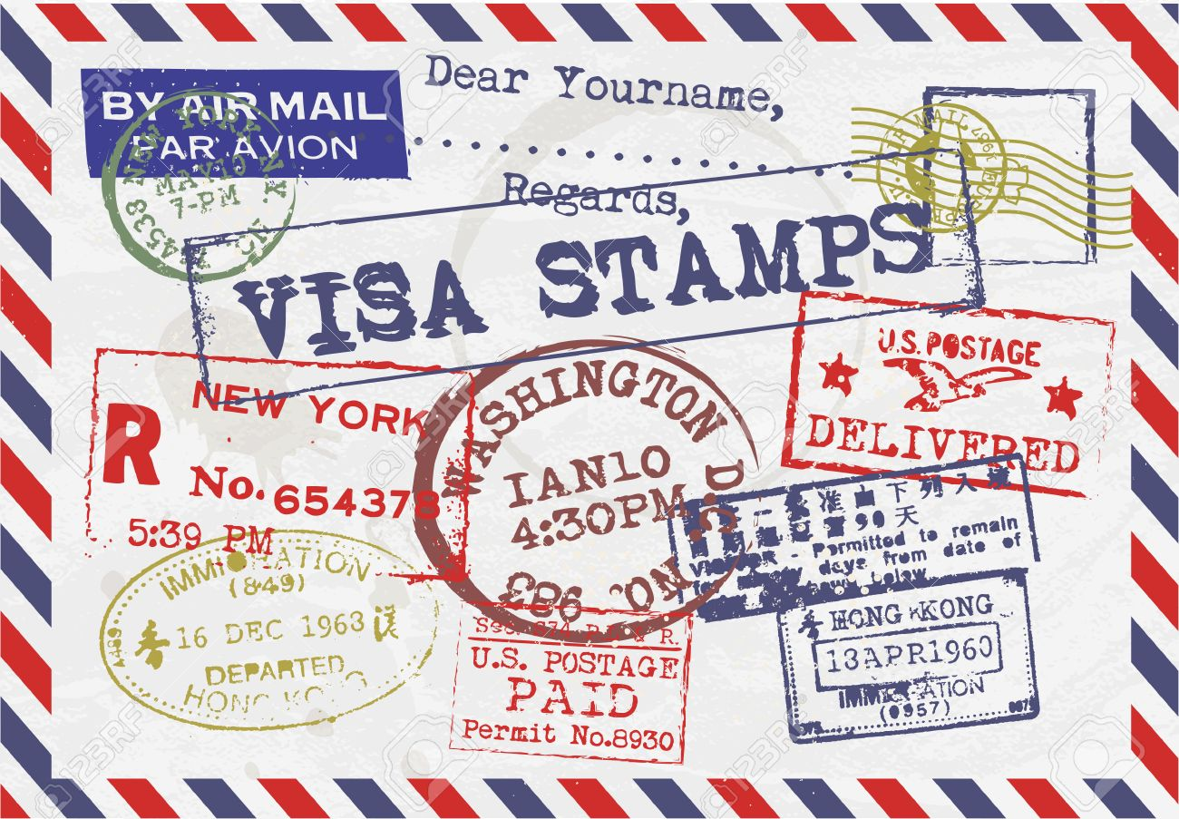 Various Visa Stamps Background Stock Vector - 23763907