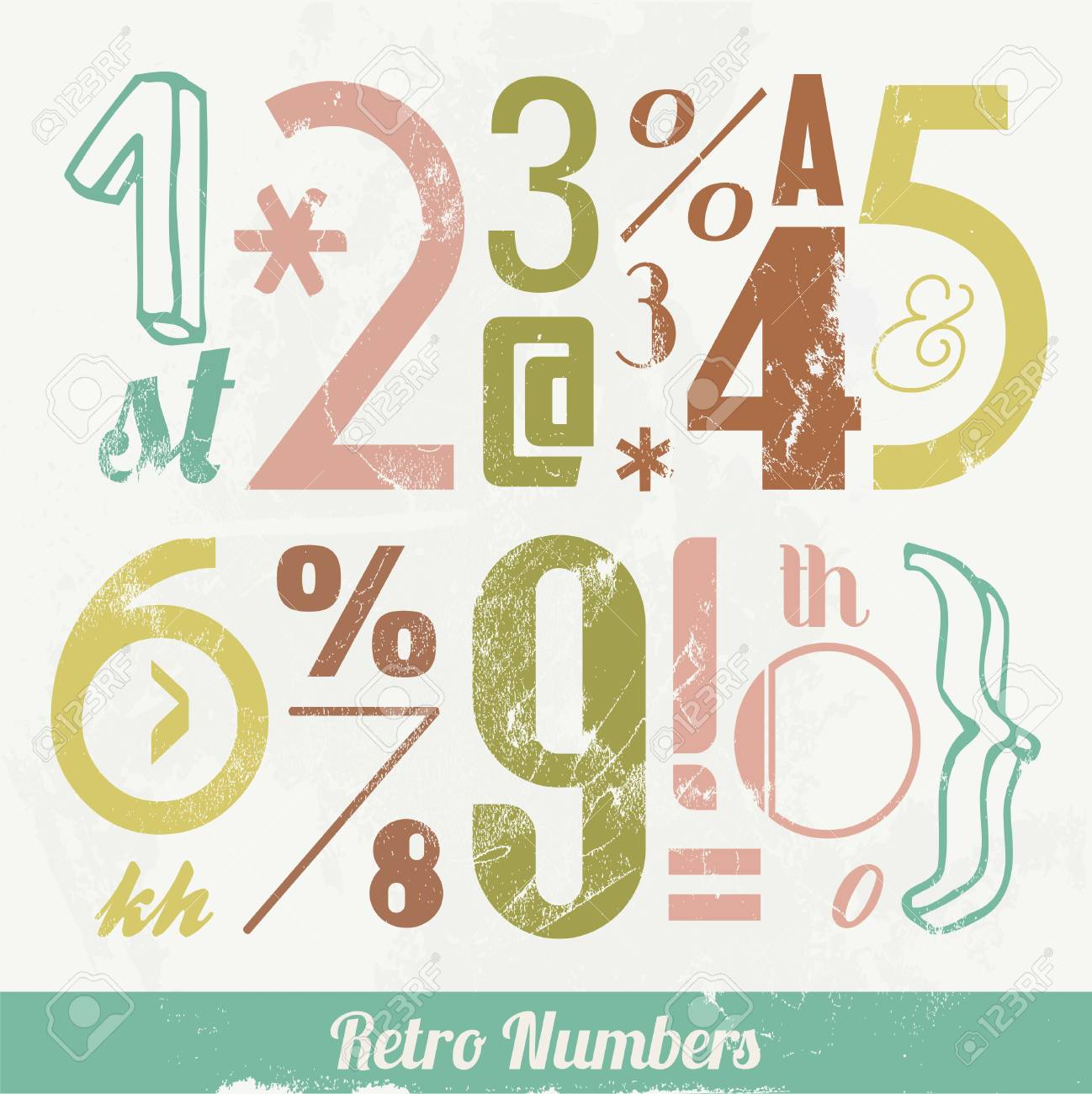Various Vintage Number and Typography Collection  For High Quality Graphic Projects Stock Vector - 23763946