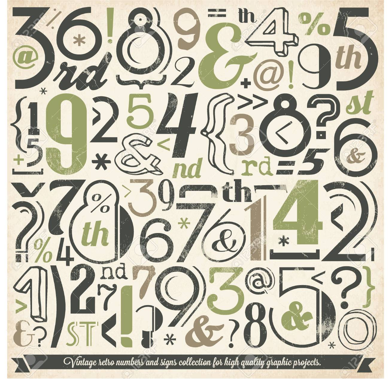 Various Vintage Number and Typography Collection  For High Quality Graphic Projects Stock Vector - 23763962