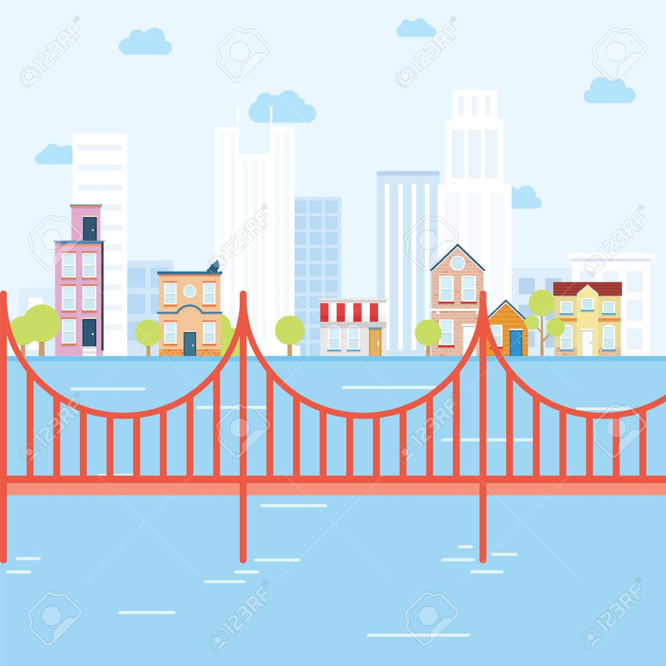 City concept with bridge that looks like san fransisco - 44186133