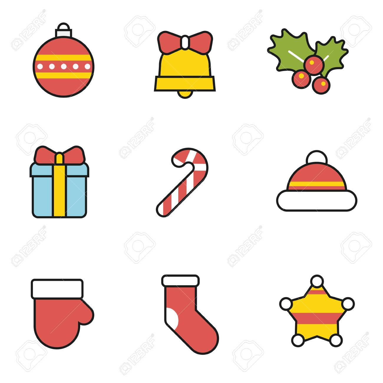 Cute Christmas.Cute Christmas Icon Set With Black Outline