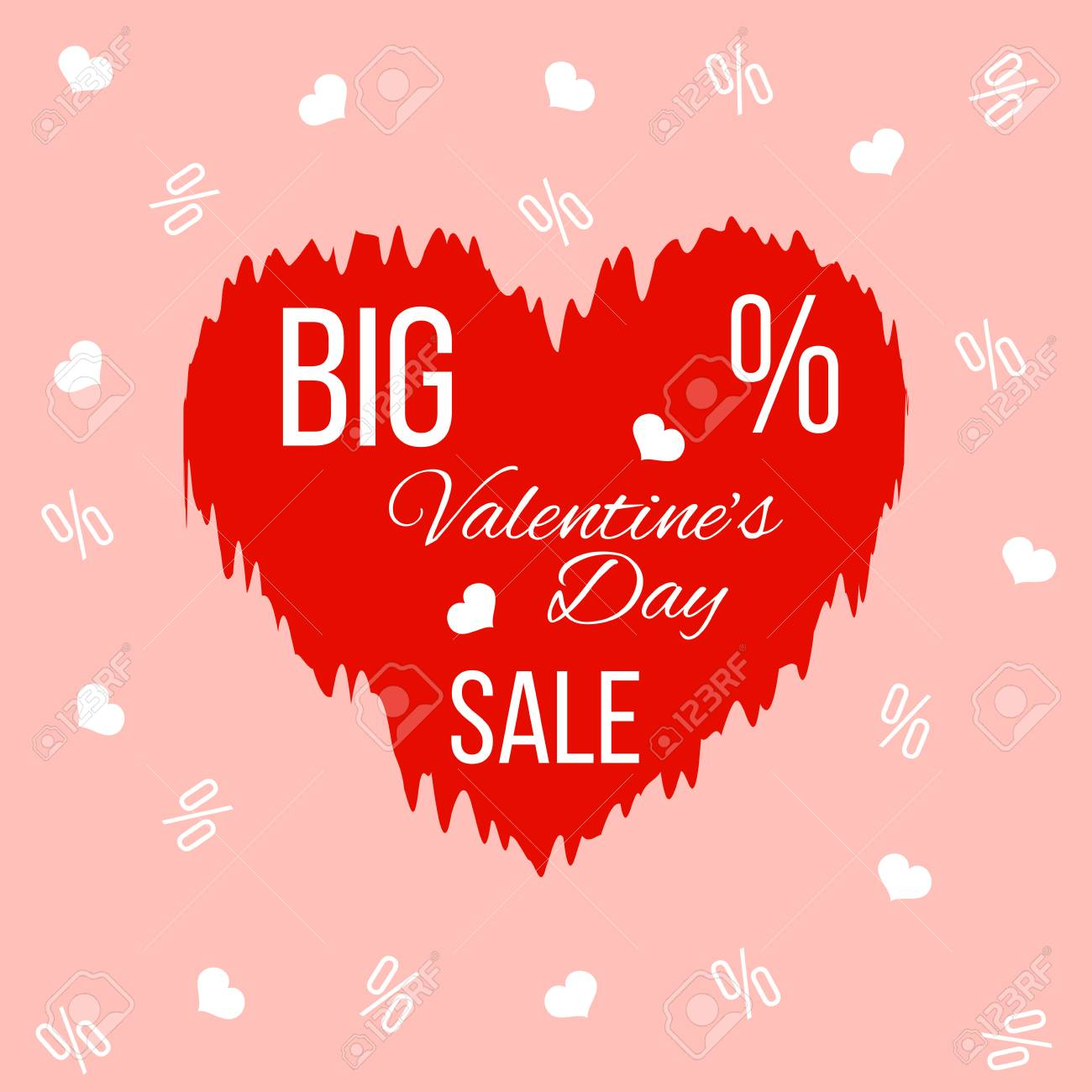 Big Valentines Day Sale Banner With Red Wrinkled Heart Royalty Free