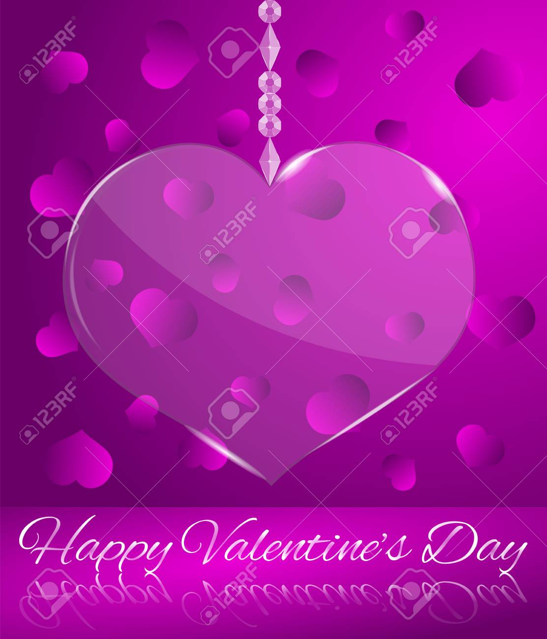 Glowing Transparent Glass Heart Purple Happy Valentines Day Greeting