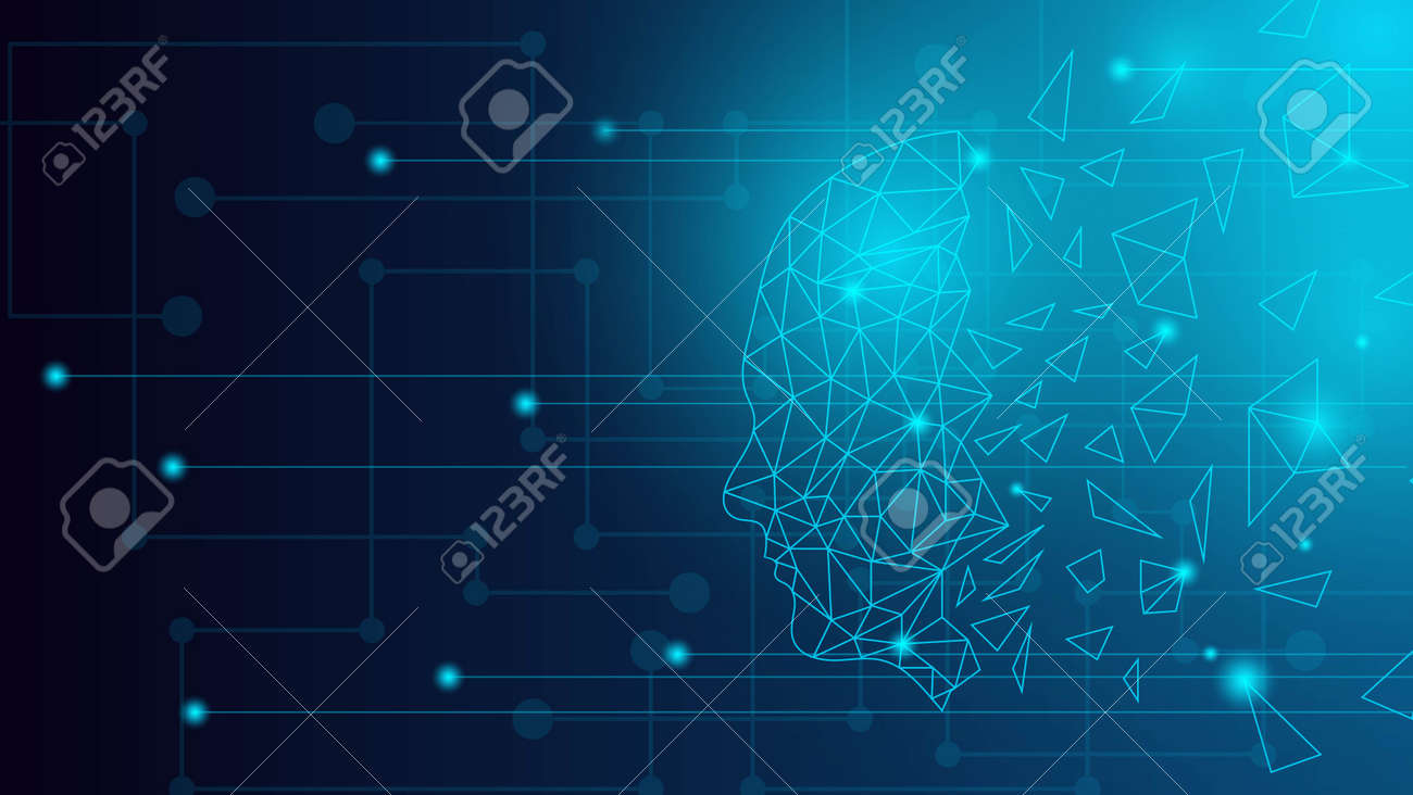 Human Head Hologram Futuristic Artificial Intelligence Technology Background in Blue - 159011967