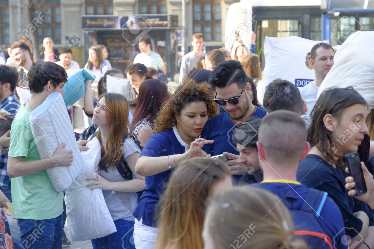 International Pillow Fight Day 2017 in Bucharest, Romania. April 1st in cities around the World. - 75126400