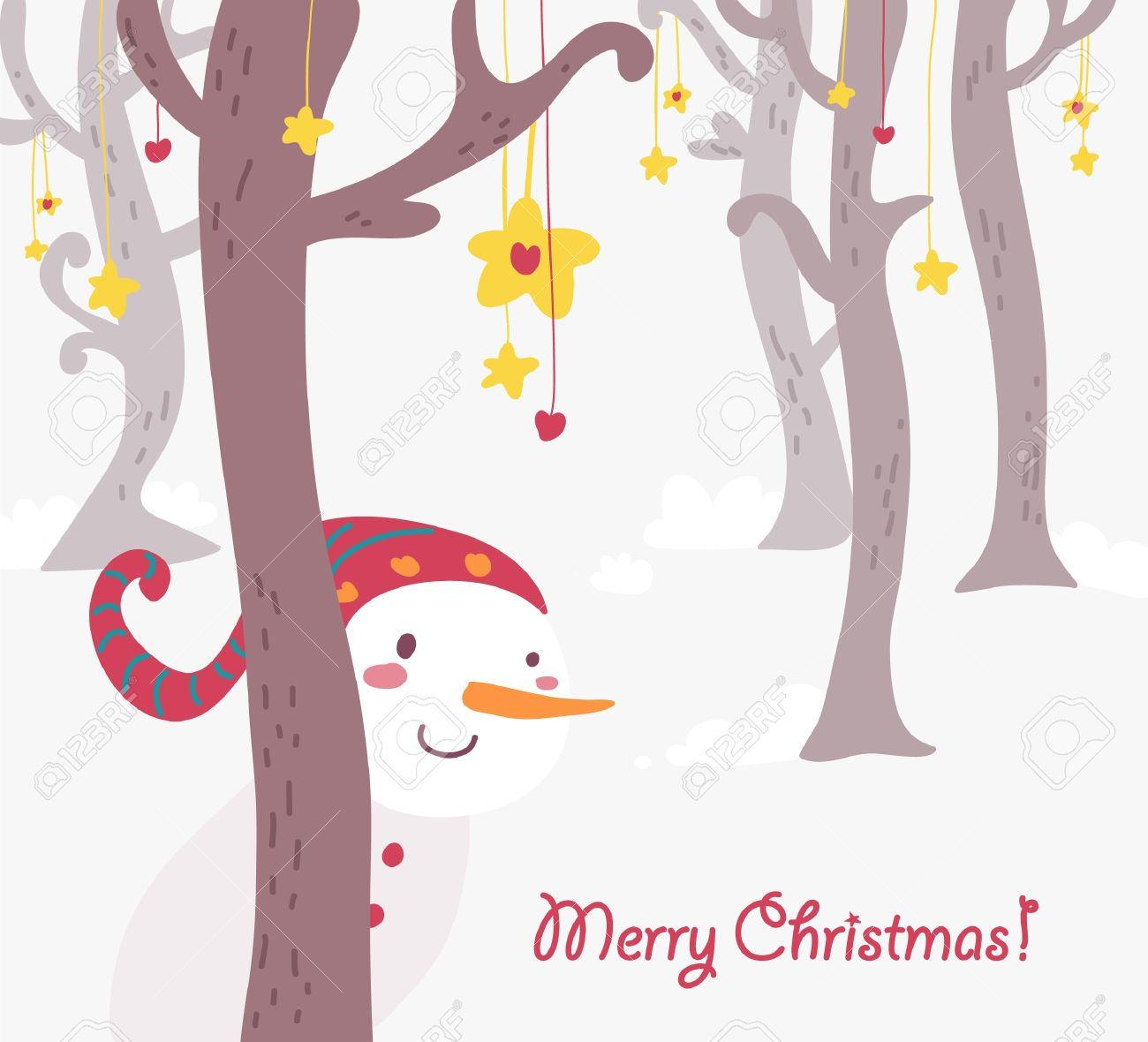Funny Christmas Card Snowman Royalty Free Cliparts Vectors And