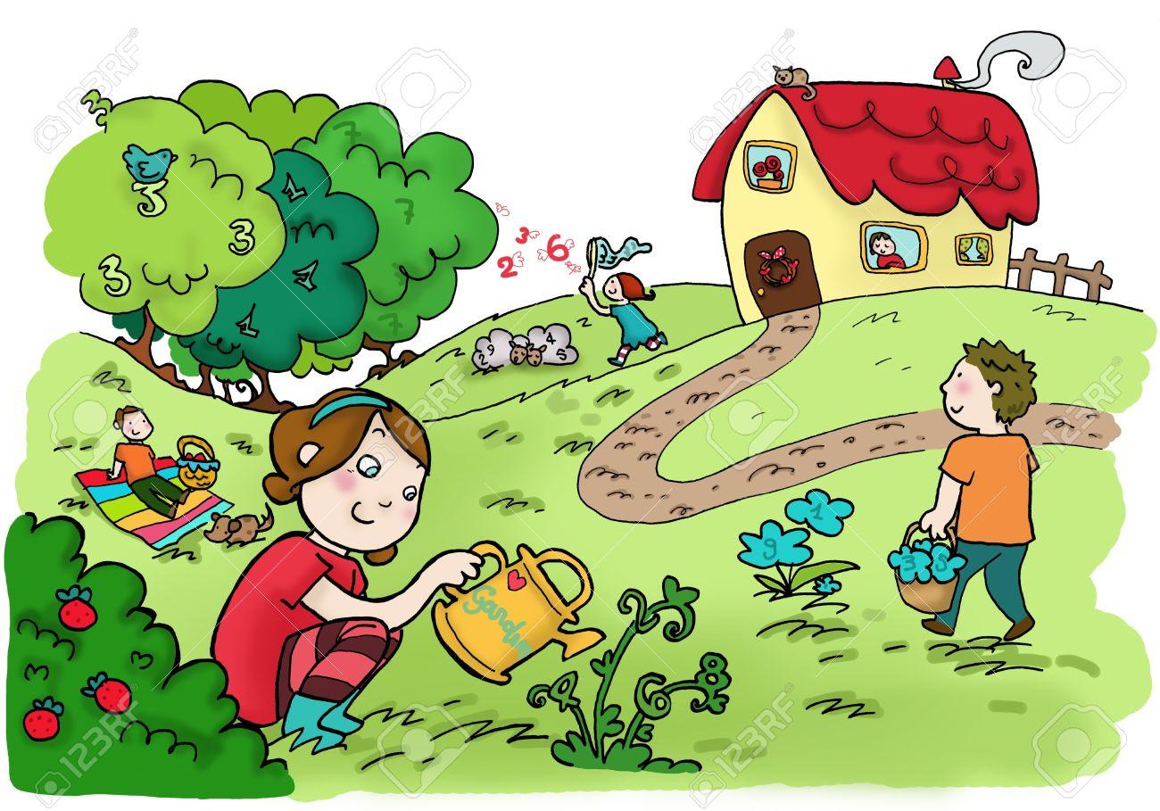 An happy magic numbers garden. Digital Stock Photo - 9661749