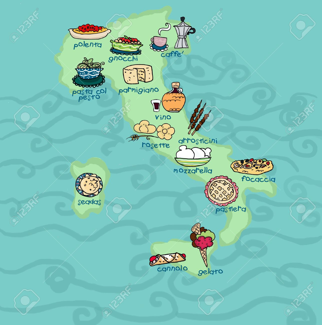An Original Food Map Of Italy Digital