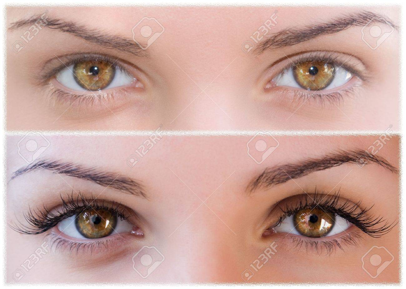Beautiful eyes with natural eyelashes to and false eyelashes after Stock Photo - 15541898