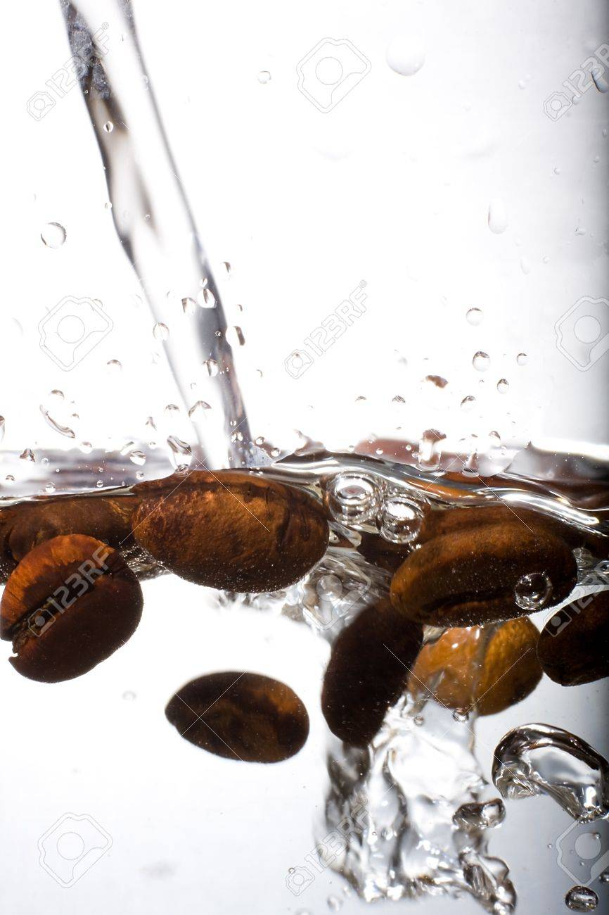Coffee Beans Are Steeped In Water Macro