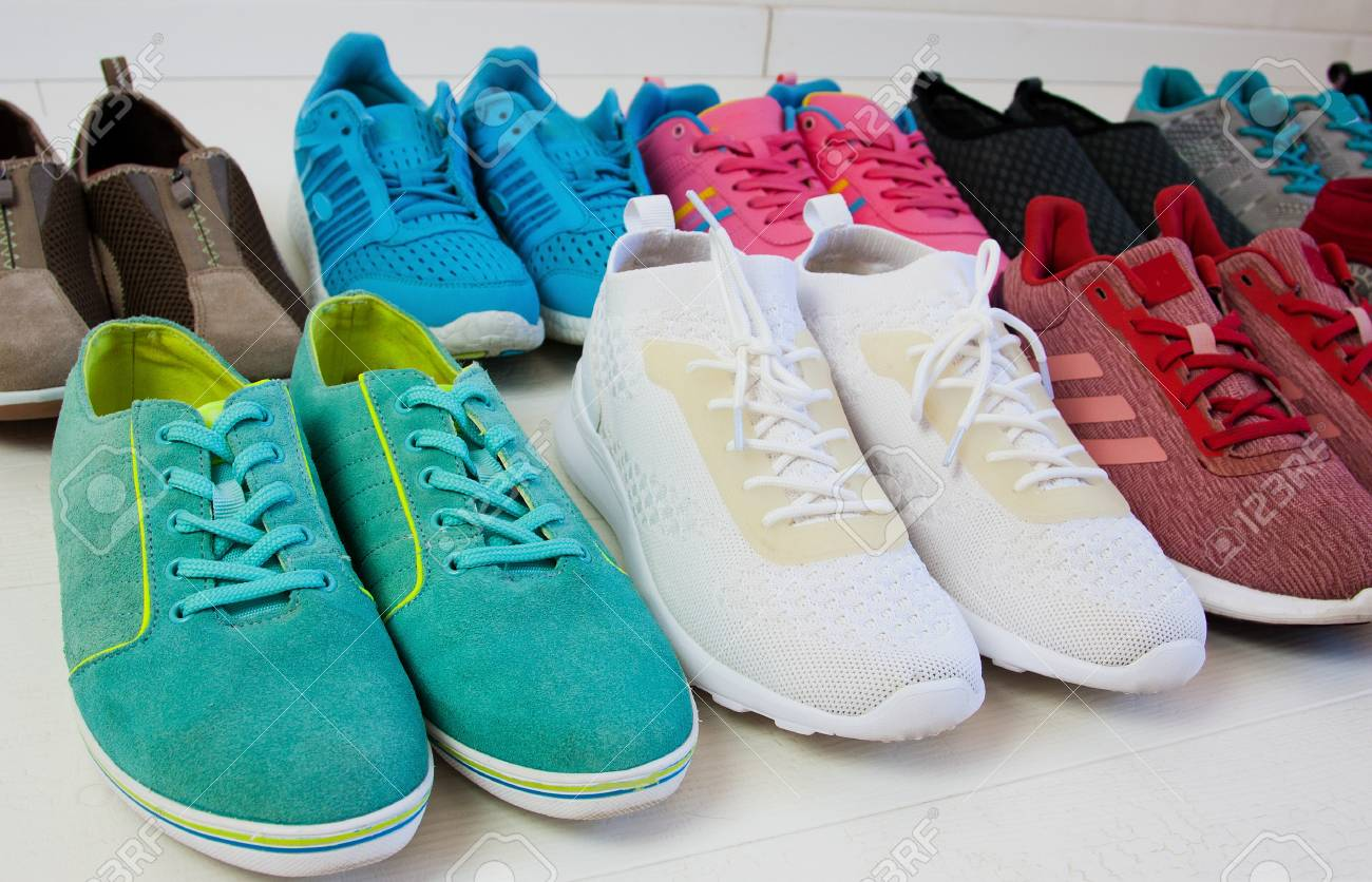 A Lot Of Multi-colored Women's Sneakers