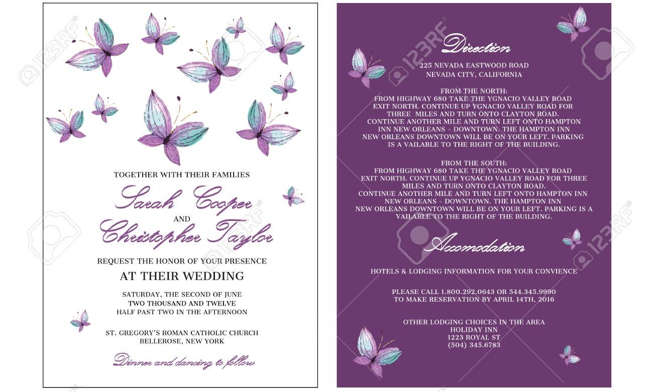 Wedding Invitation Card With Butterfly Royalty Free Cliparts ...
