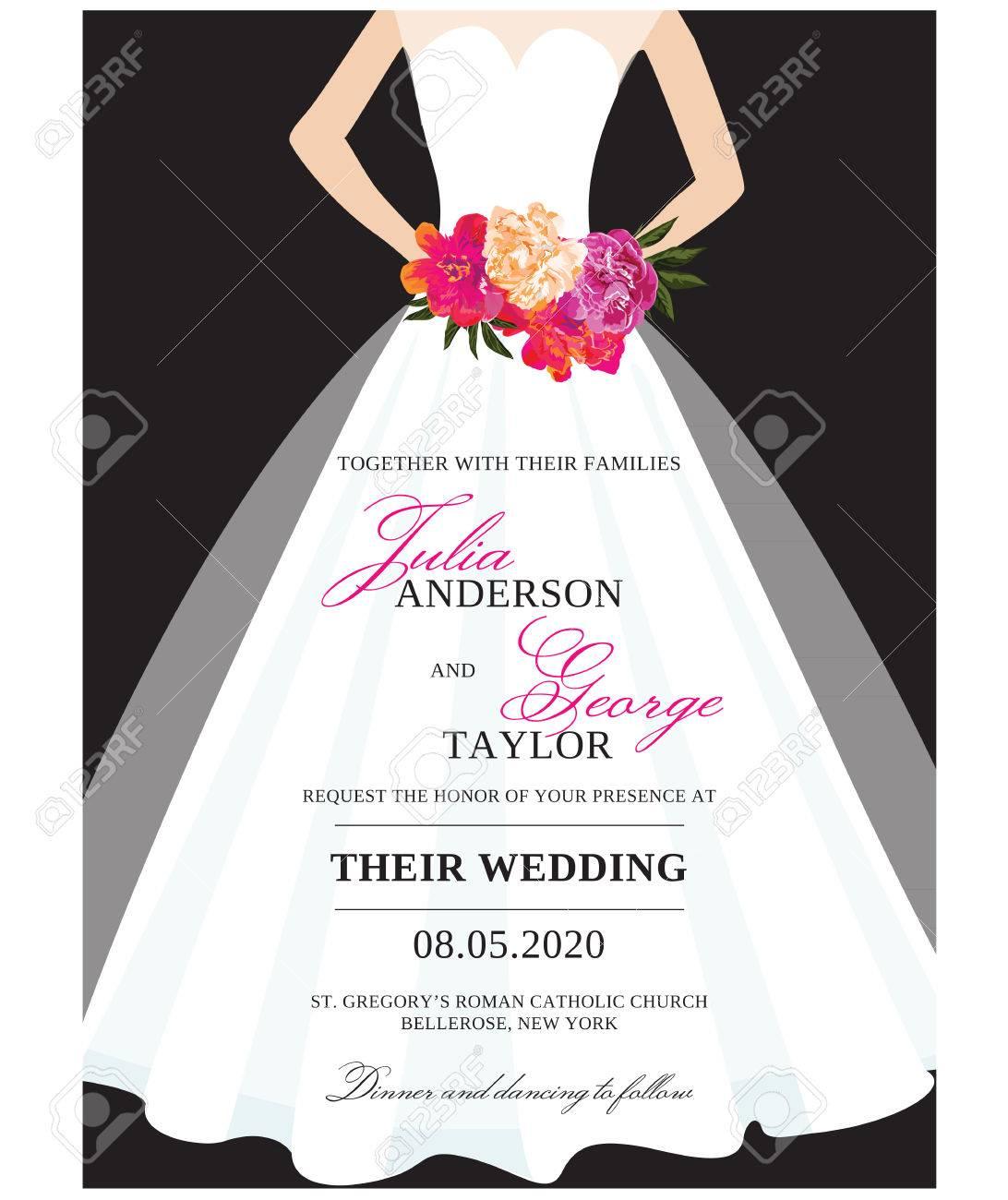 Wedding Invitation Card Stationary With Wedding Dress Royalty Free ...