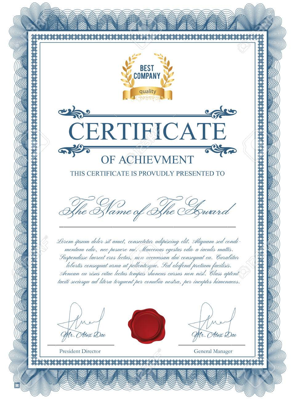 Certificate Template With Guilloche Elements. Blue Diploma Border Design  For Personal Conferment. Layout For  Certificate Layout