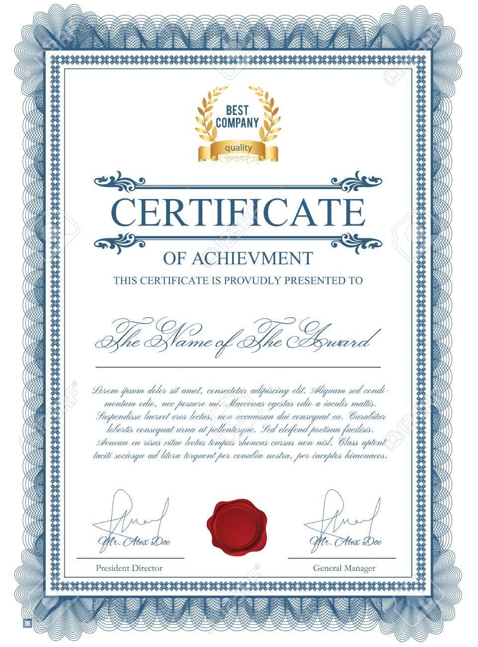 Zertifikatvorlage Mit Guilloche Elemente. Blaue Diplom-Grenzentwurf ...