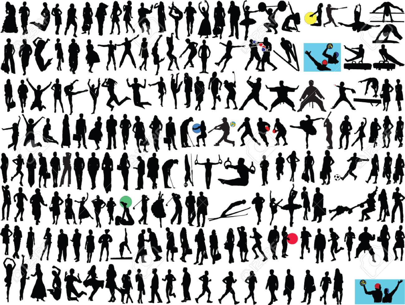 different people silhouette collection - vector Stock Vector - 5090880