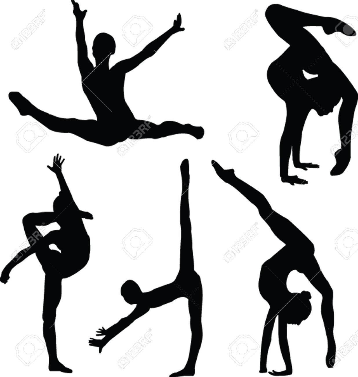 Gymnastics Girl Silhouette Collection - Vector Royalty Free ...