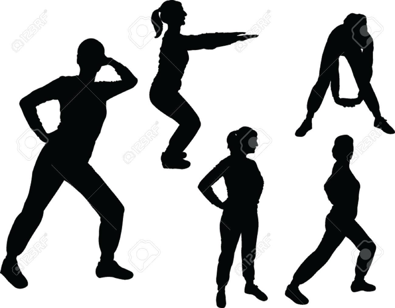 girls exercising silhouettes Stock Vector - 8009426