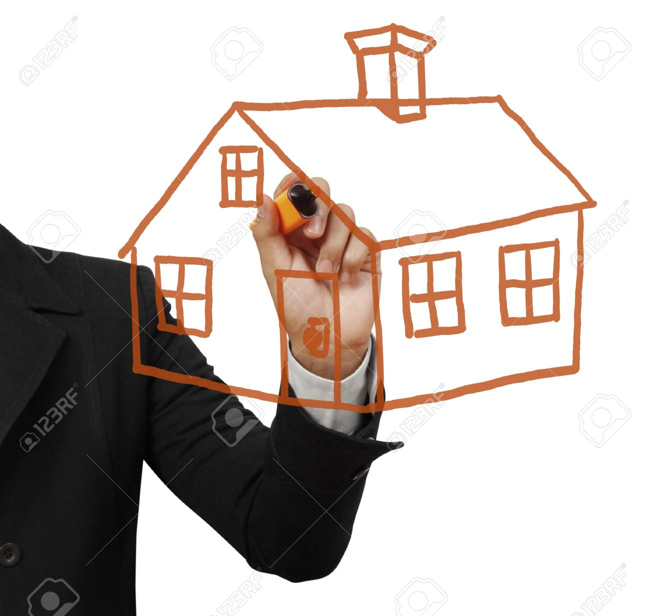 Draw a house with a pen Stock Photo - 9725961