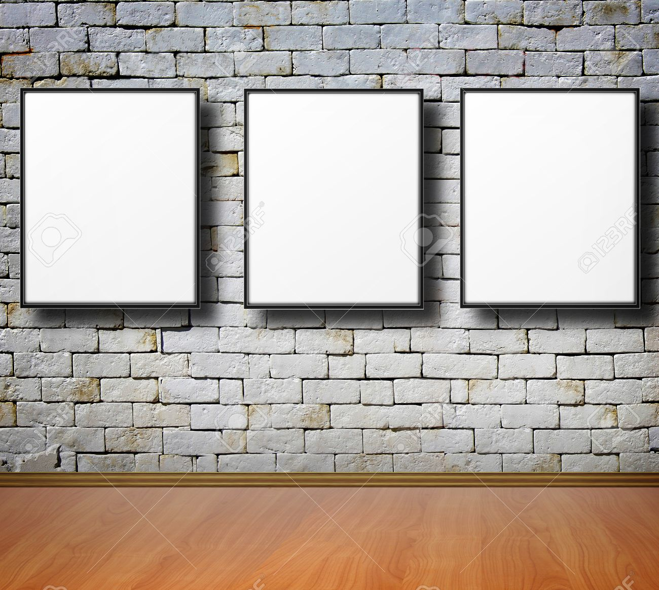 frames on white wall old brick stock photo picture and royalty free