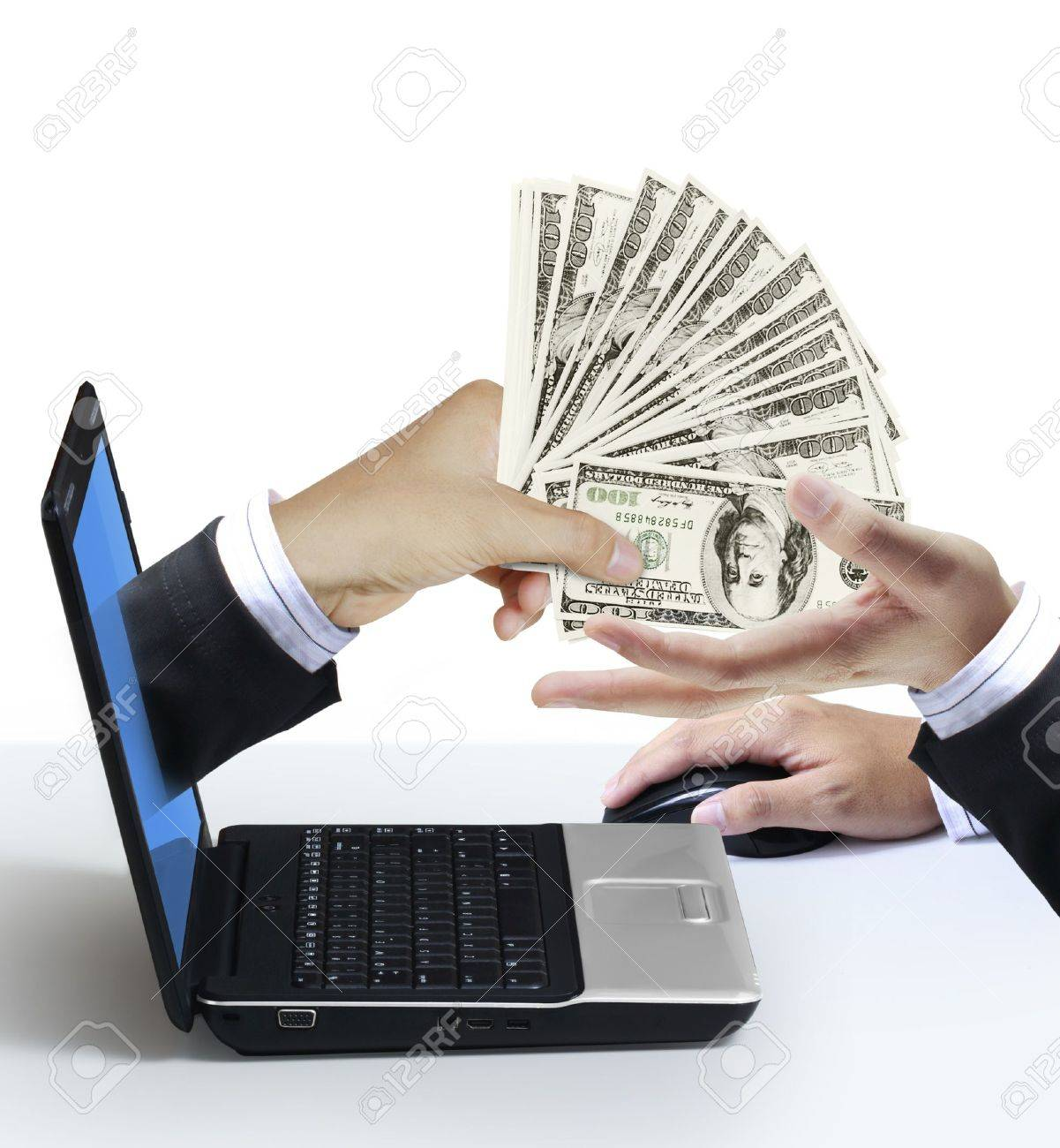 Dollars Appears From The Laptop Screen Stock Photo, Picture And ...