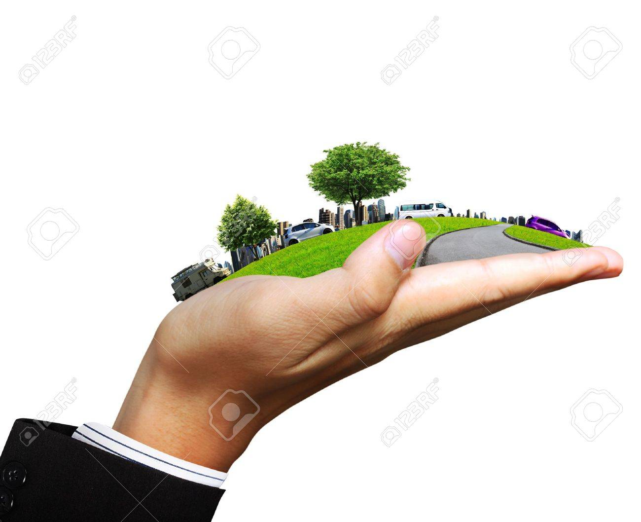 human hand holding a city Stock Photo - 10850103