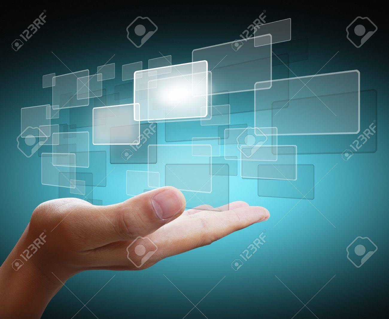 hand pushing on a touch screen interface Stock Photo - 11236659