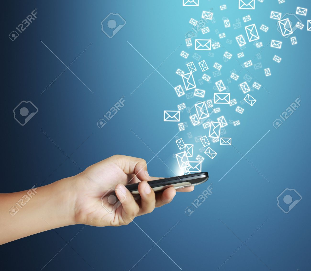 d3,Touch screen mobile phone  with blue background Stock Photo - 12526907