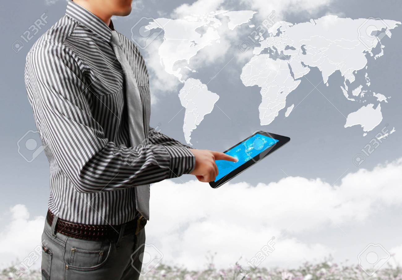 touch-tablet in hands with businessman Stock Photo - 14251256