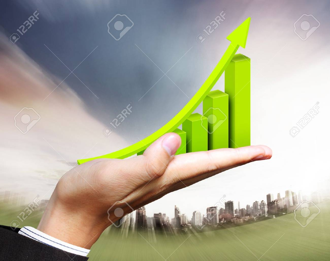 business graph in hand businessmen Stock Photo - 14856095