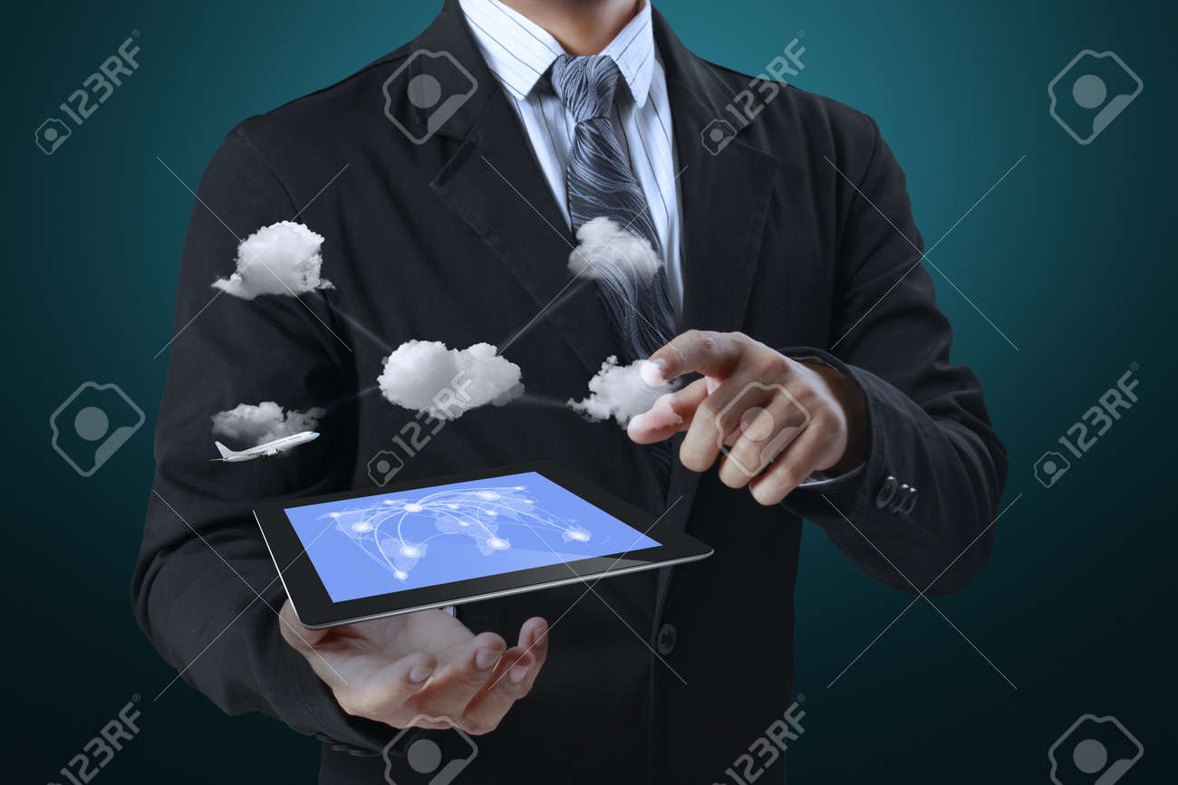 touch screen ,touch- tablet in hand Stock Photo - 16076438