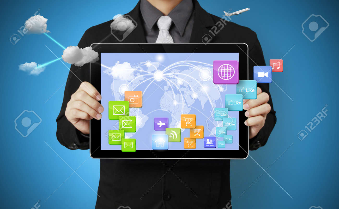 touch screen ,touch- tablet in hands Stock Photo - 17125443