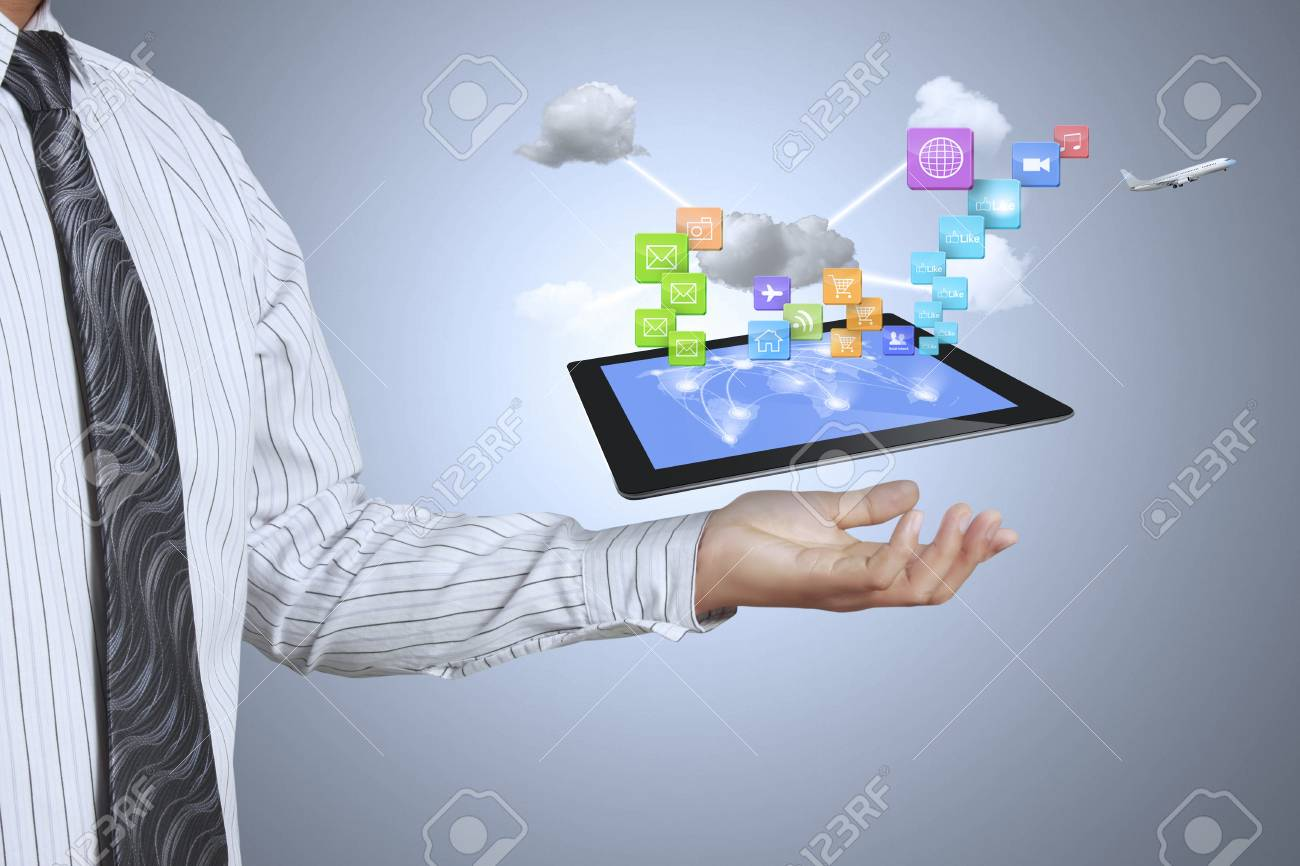 touch screen ,touch- tablet in hands Stock Photo - 17361017